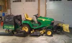 John Deere garden tractor X465 with 262 hours on it. hydrostat trans. 48 inch mower. 54 inch hydraulic snow blade. 18 bushel leaf /grass collector(all John Deere). Tractor has been garage kept and is