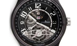 Pre-Owned Jaeger-LeCoultre AMVOX3 Tourbillon GMT (Q193K450) self-winding automatic watch, features a 44mm ceramic case surrounding a black skeletonized dial on a black nylon strap with a stainless ste