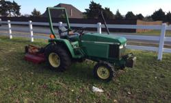 1988 28hp 3Pt John Deere tractor. Not heavily used. It includes 3.4 ft Brush Hog, Round bail spike, and 1 blade soil cultivator or buster. As stated in title 4wd. New front tires and battery. Bought t