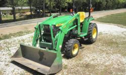 We are offering for sale a John Deere 4200, Hydrostatic 26.3HP Diesel tractor. It has 4WD, a locking differential, cruise control, power steering and tilt wheel, both rear and mid PTO, a Model 420 loa