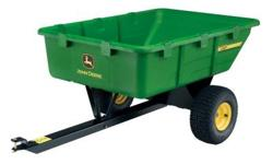 Save time, and your back, with this premium molded heavy-duty utility cart. John Deere's 10 cu. ft. high-density polyethylene cart easily connects to your lawn tractor using a universal hitch. Perfect