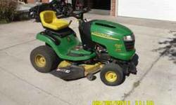 2002 John Deere L110 Lawn Tractor. This is the real deal, not bought at Lowe's. There is a BIG difference. 17.5HP, 42 inch cut, 167 hours. Includes twin bagger, mulcher, snow plow blade, weights, and