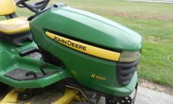 2007John Deere x320 has a 48 inch cut, 275 hours, 22 hp. It has always been garage kept and well take care of. The seat has just worn but I will be replacing the seat before it is purchased. The price