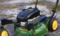 John Deere Push Mower with Front wheel swivel casters. Briggs & Stratton Engine , 6.5 HP. Excellent running / working condition. An outstanding addition to any yardperson's arsenal. Must see to apprec