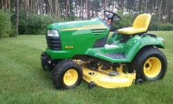 "Selling my John Deere X 475 Garden Tractor with only 390 hours on it, no scratches, rust, dents or dings. Stored indoors. Tractor is MINT CONDITION, LIKE NEW!!!!!! The mower is a 54"" 3 blade SHAFT dri"
