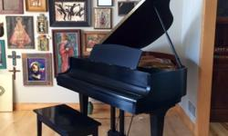 """KAWAI baby grand black satin piano from Schmitt Music. Professionally tuned 2/2/16 and told """"Like New"""" - """"Excellent Condition."""" Piano comes with piano bench. Manufactured in Japan. Perfect addition to"""