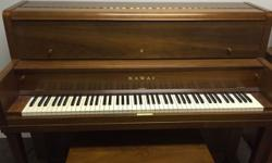 Kawai Upright Mahogany Piano & Bench This piano has been housed and well taken care of in a church for several years. A professional piano tuner recently (2/6/16) inspected the piano and said it was in really good shape. The piano is nearly in tune as is