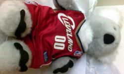 Clean previously owned, never played with, was displayed in a room. Build a Bear Koala in a removable Cleveland Cavaliers tank and short set Koala is gray/grey color. He measures 16 inches tall. Clean