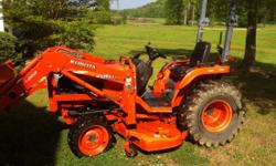 B7800 4X4 Kubota tractor equiped with belly mower , front end loader - included in price is 4ft bushhog -tiller-root rake & post hole diggers ... 335.6 hours - 5 years old Call 256-835-4997 please cal