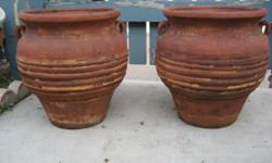 "PAIR = $39 total. EACH measures: 16"" tall x 13"" across the top and 8 1/2"" across the bottom. These pots are very rustic, western, primitive, grand, south western, tuscany, etc. Pristine condition, onl"
