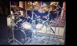 "Large set of drums for sale. The kit includes: 20"" Sabian Medium Heavy ride 18"" Sabian John Blackwell Jr. china type 18"" Paiste 3000 crash 16"" Paiste Signature full crash 16"" Paiste 3000 power crash 1"
