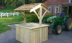 I hand build these from treated wood they are 6' tall and 4x4 square with cedar shakes roofing this well actually works call or text 8283208782
