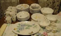 Extra large set of the gorgeous Lenox Butterfly Meadow pattern. Some pieces have been lightly used (still look new) and most never used at all. No chips, cracks, crazing, dings, etc. Microwave and dis