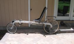 All aluminum, Foldable, 21 spd., 27in. rear 20in. front wheel, underseat steering, Great condition $500.00 or trade towards a tadpole style or other recumbent with regular steering 630-835-5694