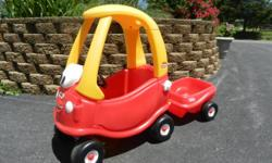 This is a Little Tikes Anniversary Coupe Car with Trailer. This is in Very Good condition. The Coupe vehicle costs $99.99 and the Trailer costs $49.99 + tax at Toysrus. I am asking $55.00 for both pro