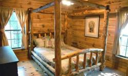 This beautiful log bedroom suit is solid pine and cedar wood with queen size bed, 6ft. tall chest with open cabinet for television, and short dresser with deer skin fronts. Does not include mattress o