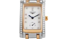 This gorgeous watch by Longines is sophisticated and beautiful in form and function. Luxurious in its design with ~.50ct of diamonds that sparkle on either side of the watch face's bezel as well as at