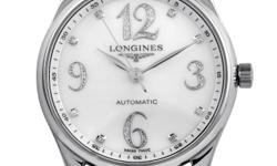 Brilliant luxury and sophistication combine to create this elegant timepiece from Longines. This glamorous model features a crisp polished stainless steel case with a fluted crown and stunning 30m wat