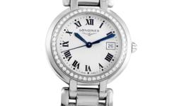 With a dazzling arrangement of ~.50 ct of diamonds on the bezel against crisp stainless steel, this striking timepiece from Longines makes the most stunning and sophisticated statement. Excellent legi