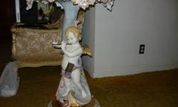 A Made in (Nove) Italy Cherub/Angel Capodimonte style Antique REPRODUCTION pedestal table by one of Italy's foremost Ceramic manufacturers-Lorenzon. Hand painted in extraordinary detailed floral and s