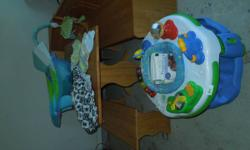 lots of baby stuff in excellent condition. exersaucer, mobile, bath tub, bath mat, knee mat, double breast pump, 3 bottles, bottle drying rack, hats, swaddlers, bibs, books, shopping cart/high chair c