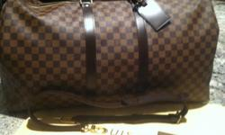 Authentic Louis Vuitton Travel set products retail for $2585+tax at the Louis Vuitton Store. This Bandouliere 55(knapsack with strap) is in the ageless Damier Ebene pattern and the King Size Toiletry