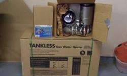 Up for sale is this brand new Rheem tankless hot water heater. It runs on LP gas. It also comes with brand new venting/chimney parts, brand new tankless water heater valve kit w/ pressure relief valve