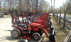 Sale on all in stock Mahindra Tractors Max22 Tractor, 22 hp 3 cyl Mitsubishi diesel w/loader 900 lb lift capacity, Max 25, 25hp 3 cyl Mitsubishi diesel w/ loader 900 lb lift capacity,frame mounted bac