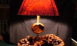 """Manzanita Burl Lamps/Manzanita Lamp Shades.  Lamps are manzanita burl base & shades are made redwood burl from the 1970's made in Eureka, Ca.  Lamps with 16"""" tones - $150.00 each.  Lamp shades. 16"""" $8"""