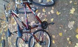 Next All Terrain Shock bikes. They will both need minor maintenance. Both shift decent through all gears. Brakes work. Tires need more air. Not weather cracked. Both are front suspension only. 21spd,