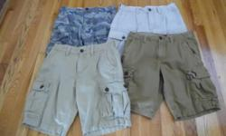 """MEN'S CARGO SHORTS BY AMERICAN EAGLE Size-30"""" waist with a 10"""" inseam.(Knee length) All are in excellent condition. Grandson just out grew them. Worn very little. SHORTS are $10 each. I paid from $39."""