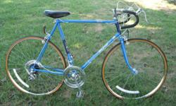 "mens Raleigh Record road bike, Nottingham England made, blue with minor chips/scratches, 10 speed stem shift with shimano FFE shift system. chrome 27"" rims/tires, alloy GB forged stem, Raleigh/weinman"
