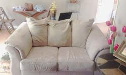 """. no damage anywhere. great condition scotchguard treated. will steam clean before purchase light tan microfiber couches. 3 seater larger couch 85"""" length 2seater loveseat 65"""" length. get or shipping"""