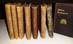 Set of 8 miniature Knickerbocker Leather & Novelty Co. (New York) books - Shakespeare's plays. Books produced by Knickerbocker in the late 1800s to early 1900s. They measure 2 1/4 by 3 1/4 inches. The
