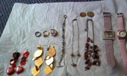Misc. jewelry- (2) necklaces (2) pr. earrings (2) watches (3) rings (one missing setting, sizes not known) (2) foreign coins (1) bracelet plus other odd pieces $10 for all