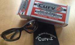 CurvZ Black transform motorcycle sunglasses with original box and carry bag. Like new! No scratches, foam is in great shape! Original price $62.95 Asking $25. First gear riding gloves. Men's XL. Leath