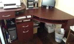 Bush - Wood Corner Desk in Cherry - Vantage Desk Is still in excellent shape with a couple minor chip marks kindly see pictures they can be quickly taken care of purchased at workplace max Keyboard tr