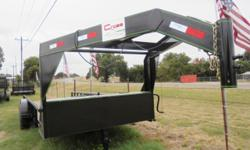 This is a NEW 20x82 Gooseneck tandem axle trailer by Cross that has two 7000 lb axles with a GVWR at 14000 lbs. It is equipped with piperail on each side. ST235/80-R16(E) new tires. 8 lug. Delivery av