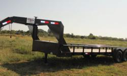 This is a NEW 24x82 Gooseneck tandem axle trailer by Cross that has two 7000 lb axles with a GVWR at 14000 lbs. It is equipped with pipe rail on each side. ST235/8-R16(E) new tires. For more information, please call Matt at .