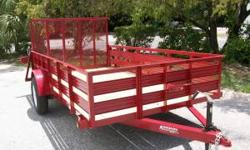 """NEW ANDERSON 6'4"""" X 12' SINGLE AXLE UTILITY WITH MANY OPTION 2' SLAT SIDES 2"""" COUPLER 5000LB SCREW JACK 15"""" TIRES DEXTER EZ-LUBE AXLE PT DECK WELDED SPARE TIRE MOUNT DOT APPROVED LIGHTS WITH LIGHT PRO"""