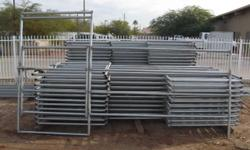 These are new 5' tall corral panels. These panels are designed to stand on top of the ground and do not need to be concreted in. Each panel comes with two panel clamps and you simply clamp them togeth