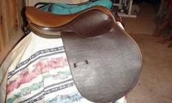 "Brand New with tags 17"" Coventry close contact saddle (made in England) soft leather, medium tree. Very nice saddle, $150 Comes with used Crosby leathers and irons. This saddle is much nicer than the"