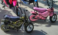 These Jetson Junior Kids Electric bikes are head turners. Check out the Camo for boys or Pink with hearts for girls. Fully electric, speed either 6mph or 12mph, up to 10 miles per charge. Your kids wi
