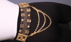 Beautiful Leatherstock Nina Arjani Genuine Leather Belt Black with gold accents and chains Retails on eBay for over $80 Only $35 Cash or Paypal Call Me at ________(352) 589-4106 ______ or ____________