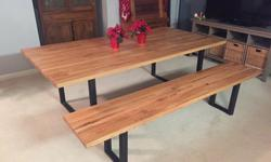 Our industrial butcher block tables are handmade from beautiful reclaimed oak. This table includes a matching bench. Made to last generations while adding an industrial decor to any room. This table i