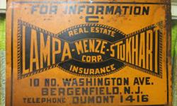 """Old Lampa-Menze-Stukhart Insurance/Real Estate Sign, c. 1920's. Dimensions-- 13.5"""" x 20"""". Bergenfield, NJ.  Product being provided by: Madison Station Antiques found at 110 Main St. Madison, AL 35758."""