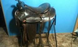 "Good older saddle. 16"" seat at padding, 7"" gullet, FQHB. Very cool double ply, and stitched leather on whole saddle. Smooth top and bottom. Comes with tie strap, off billit, and older string cinch. Fl"