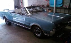 1967 Cutlass Supreme convertible. 83K miles, completely brought back 10 years ago. Drives and runs great.Powder blue with white top. Located in Ocracoke, NC, can bring to Belhaven for an appearance if