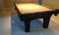 Olhausen Belmont 8ft Pool Table Cherry Finish Excellent Condition Includes 4 Regular cue sticks 1 short stick 1 Bridge Chalk Cover 8 & 9-ball Racks Table Tennis Cover Table is in great shape a couple
