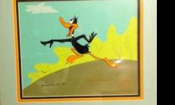Original hand painted Warner Bros. Daffy Duck cel. This cel is a limited edition with a certificate of authenticity. It is created and signed by Robert McKimson. It has been authenticated by Linda Jon
